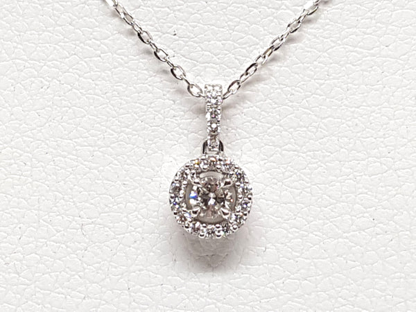 Necklace & Diamond Halo Pendant 0.95ct.