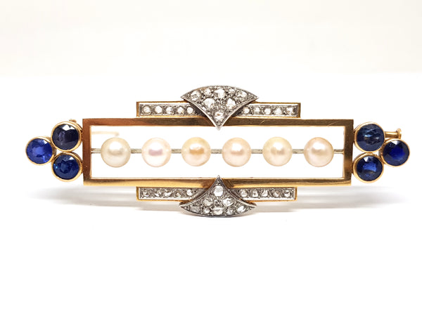 Antique Edwardian Diamond Burmese Sapphire Pearl Brooch 7.20ct.