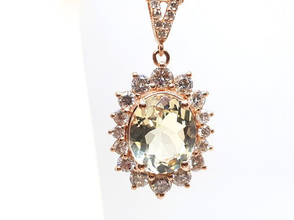 Necklace & Diamond Golden Beryl 6.00ct.
