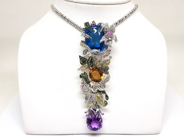 Necklace & Diamond Amethyst Citrine Emerald Topaz Yellow Pink Sapphire Pendant