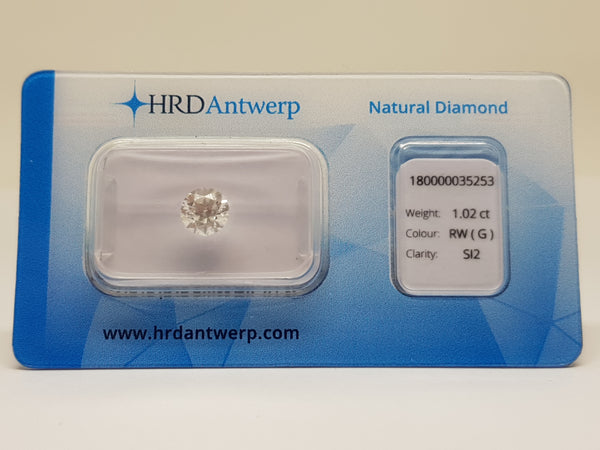 HRD Certified Round Diamond 1.02 G SI2