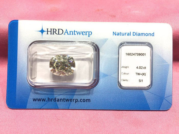 Certified Diamond 4.02 ct. Cushion Cut - K/ SI 1 - HRD Certificate