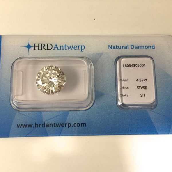 Certified Diamond 4,37 ct. Round Cut - J / SI1 - HRD Certificate