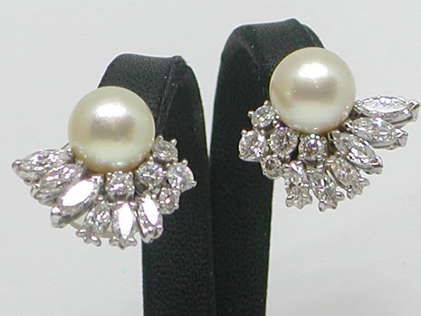 Diamond Pearl Earrings 5.20ct.