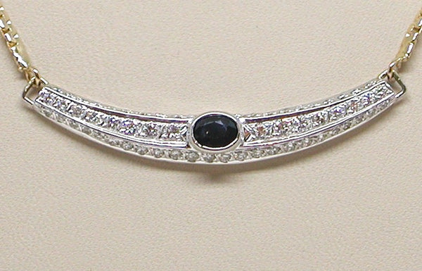 Antique Diamond Sapphire Necklace 2.50ct.