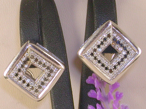 Diamond earrings black and white diamonds 1,78ct.