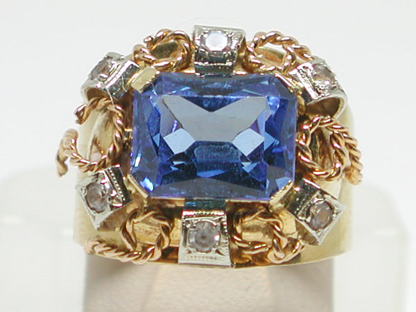 Antique Diamond Topaz Ring 4.30ct.
