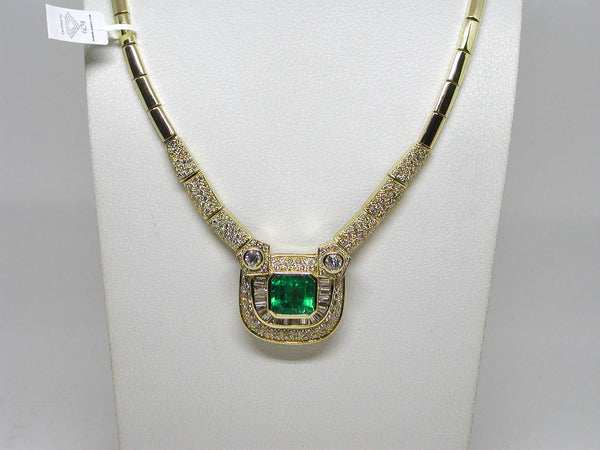 Diamond & Colombian Emerald Necklace 24.90ct.