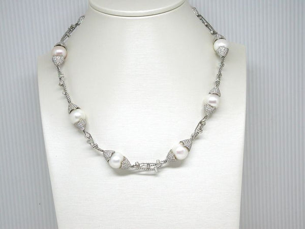 Diamond & Fresh Water Pearl Necklace 8 - 12 mm - Total 13.30 ct