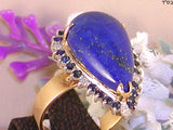 Diamond Sapphire and Lapis Lazuli Cocktail Ring  10.30 ct - 14 K Gold