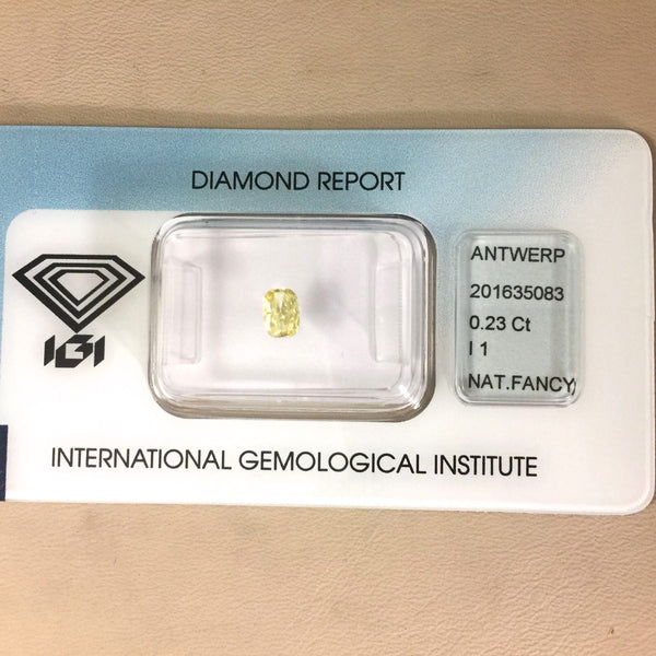 IGI Certified Fancy Yellow Diamond 0.23ct.