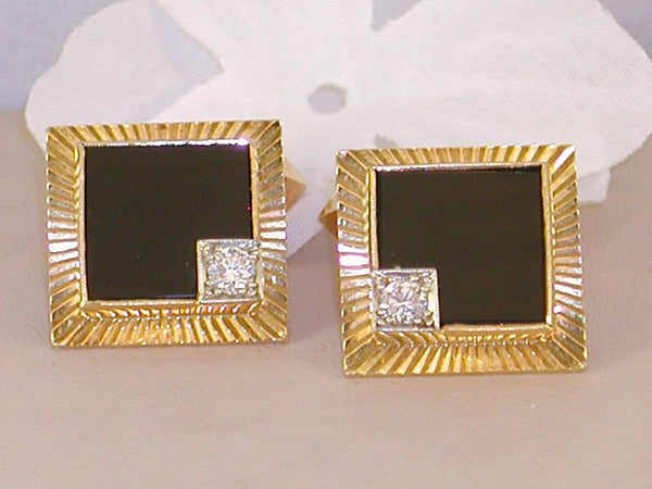 Mens Cuff-links With Black Onyx &  Diamonds- Circa . 1970's
