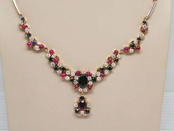 "Unique ""Frosted"" Diamond Sapphire and Ruby Necklace - 18 K Yellow Gold"