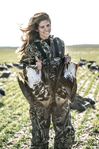 Sydney Broadaway shows off a pair of beautiful Specklebelly Geese.