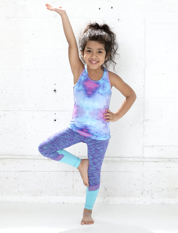 GIRLS 2-6 HEATHERED MESH PANEL LEGGING