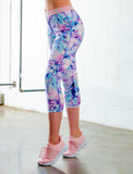 LADIES FLORAL WATERCOLOR CAPRI LEGGING