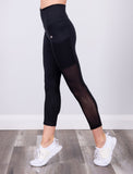 LADIES HIGH RISE 7/8TH LEGGING W/MESH SIDE PANEL