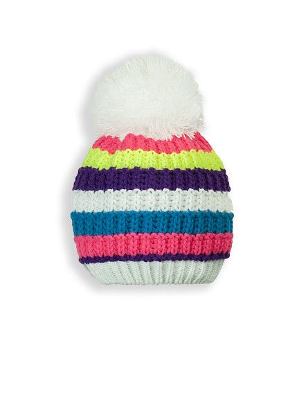 GIRL'S 2-3X STRIPED KNIT TOQUE W/ POM POM