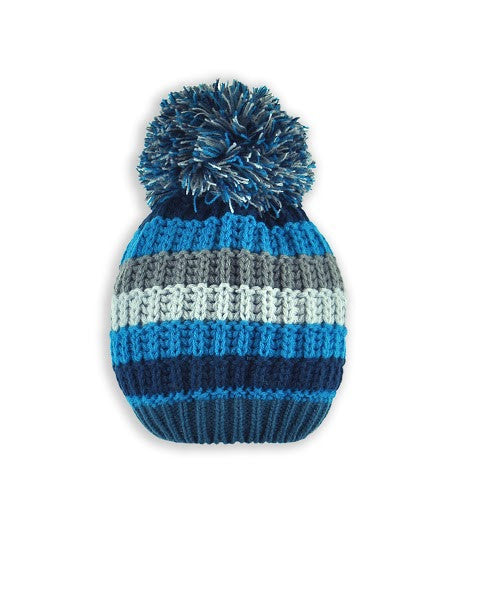 BOYS 2-3X STRIPED KNIT TOQUE W/ POM POM