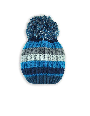 BOY'S 2-3X STRIPED KNIT TOQUE W/ POM POM