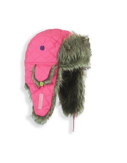 GIRL'S 4-16 QUILTED  TRAPPER W/ FAUX FUR