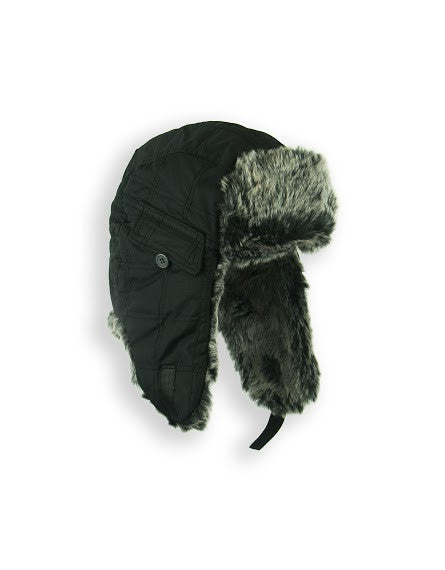 BOYS 4-16 QUILTED TRAPPER W/ FAUX FUR