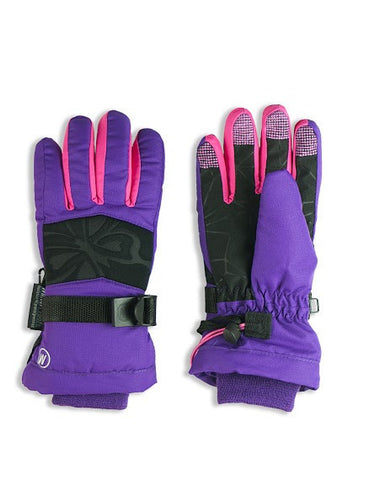 GIRL'S 4-16 SKI GLOVE W/ EMBOSSED BUTTERFLY DETAIL