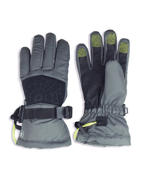BOYS 4-16 SKI GLOVE W/ EMBOSSED SPIDER WEB DETAIL