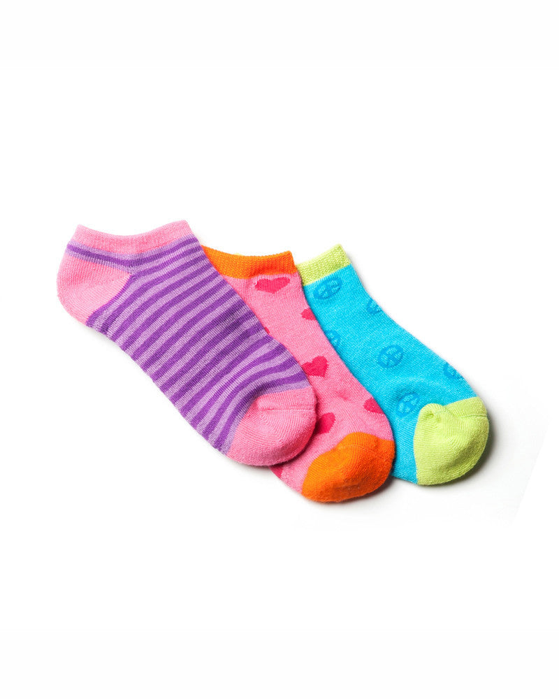 GIRLS 3 PACK FASHION ANKLE SOCKS
