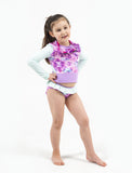 GIRLS 2-6X L/S RASHGUARD TANKINI SET