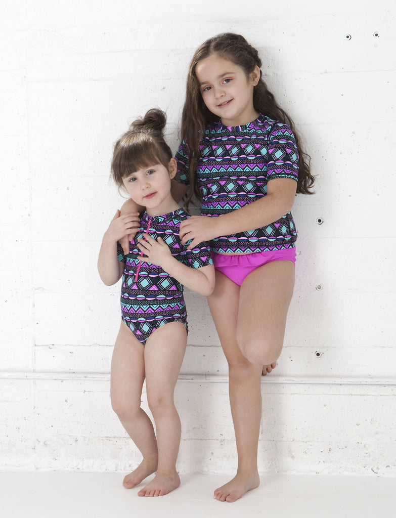 GIRLS 2-6X RASHGUARD TANKINI SET