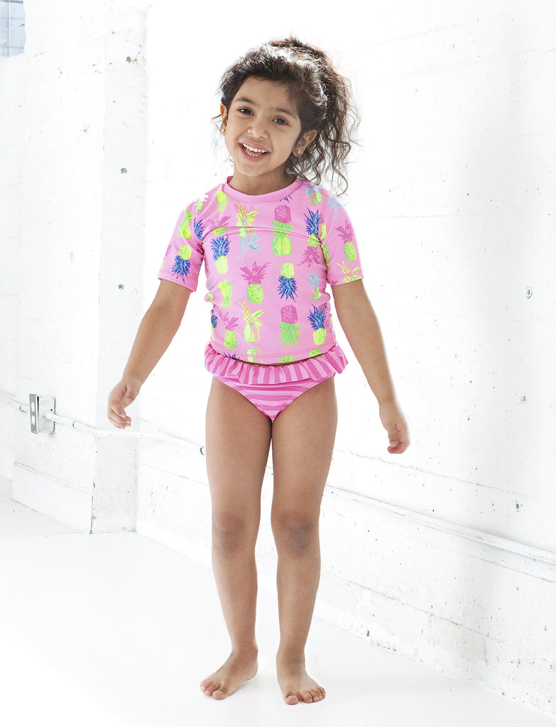 GIRLS 2-6X RASHGAURD TANKINI SET