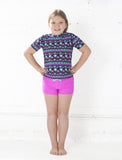 GIRLS RASHGUARD TANKINI SET W/SHORTS