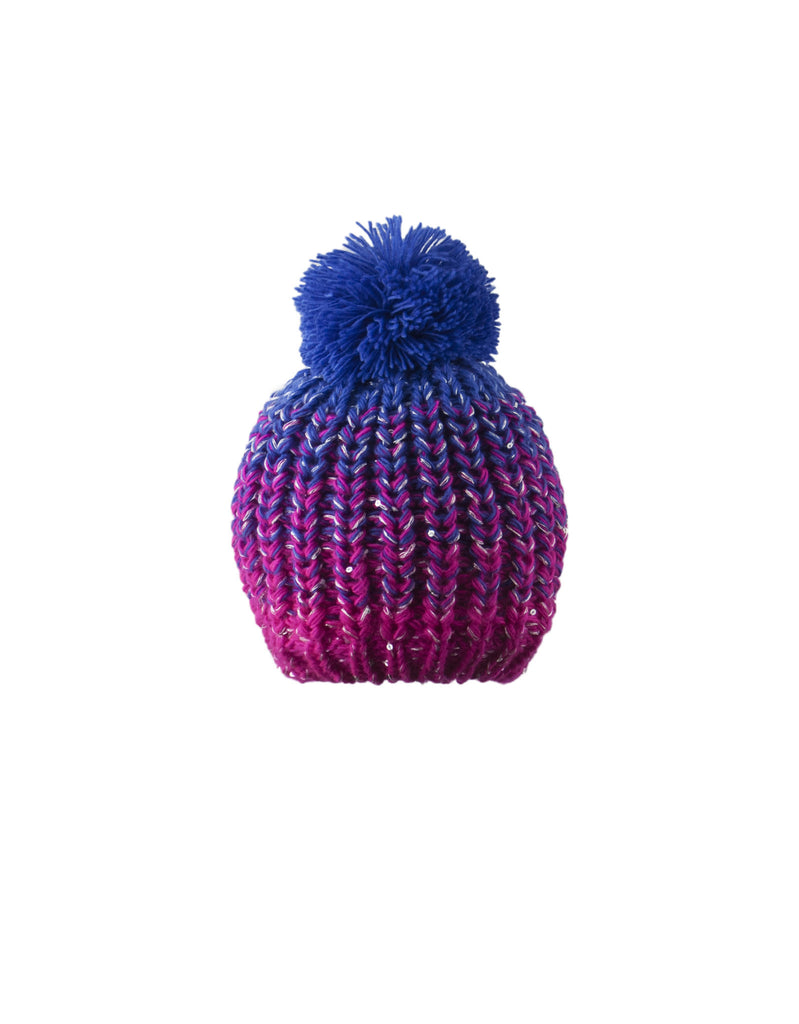 GIRL'S 2-3X SEQUINED OMBRE KNIT TOQUE W/ POM POM