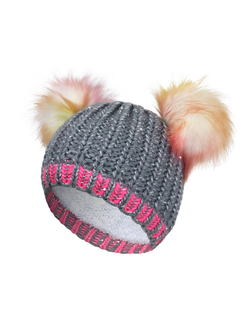 GIRLS 2-6X DOUBLE FAUX FUR POM POM KNIT TOQUE