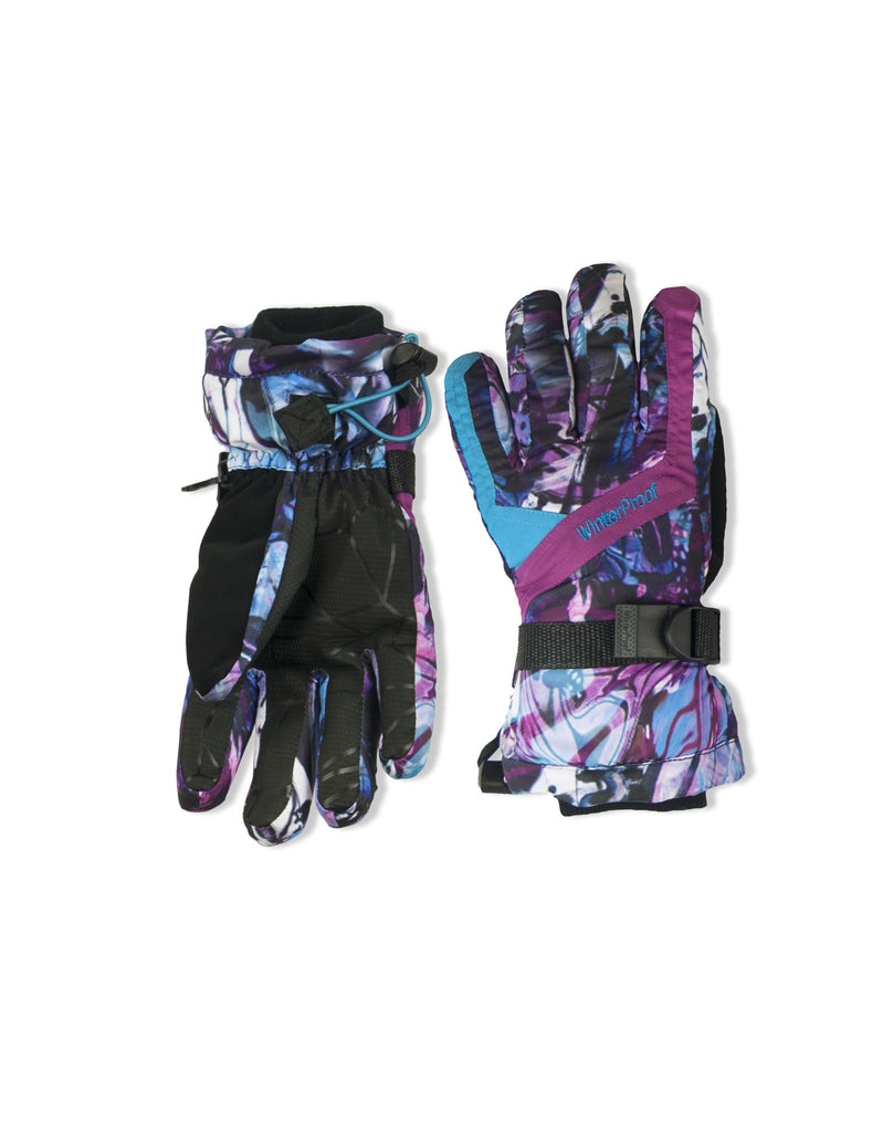 GIRL'S 4-16 SKI GLOVE W/ BUTTERFLY GRAFITTI PRINT