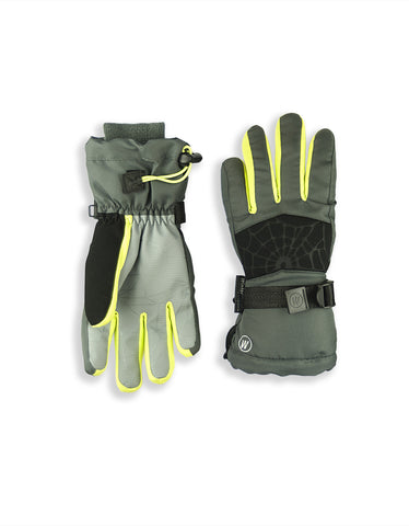 BOY'S 4-16 SKI GLOVE W/ EMBOSSED SPIDER WEB DETAIL