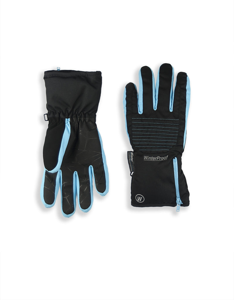 BOYS 4-16 SKI GLOVE W/ FRONT QUILTED PATCH & EXPOSED ZIPPER