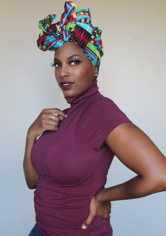 Lily of the Nile Head Wrap (BLUE)