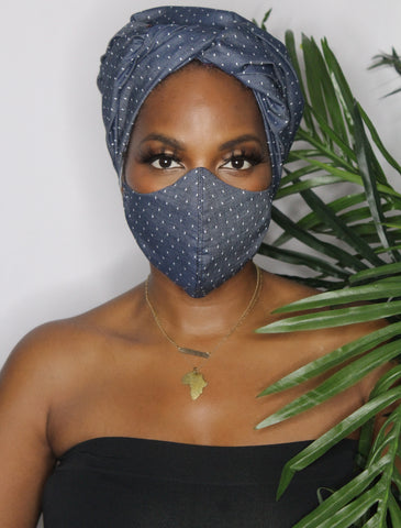 Denim and Dots Head Wrap