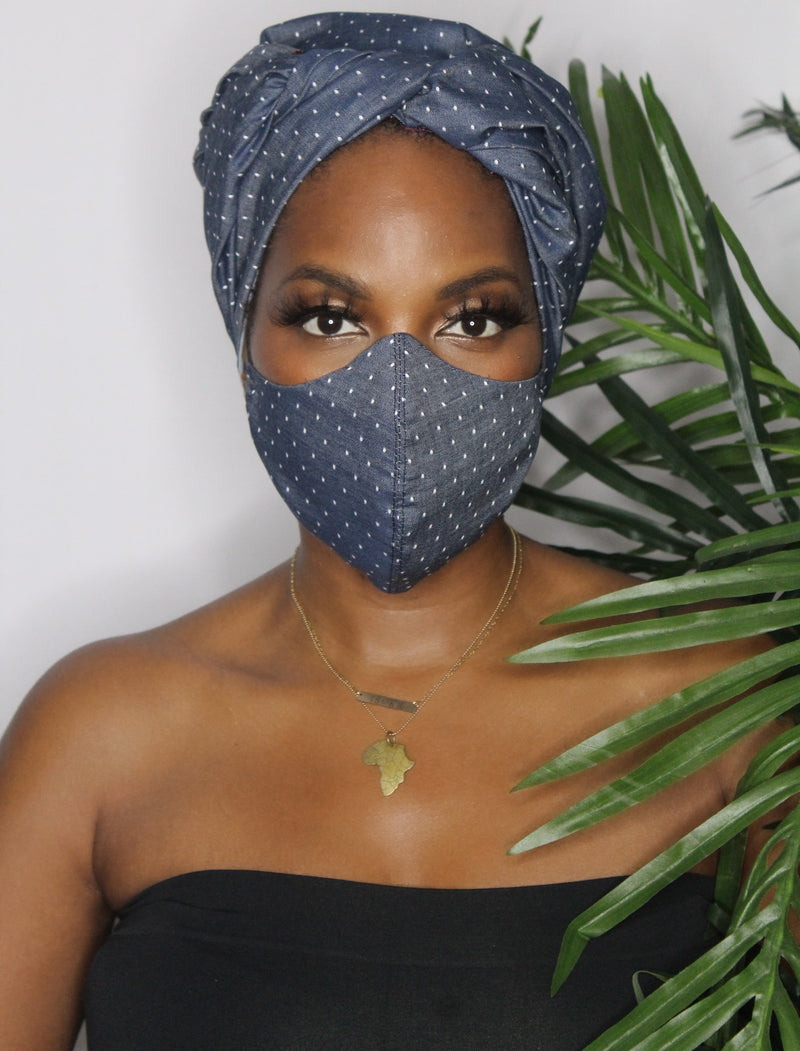 Denim and Dots Face Mask