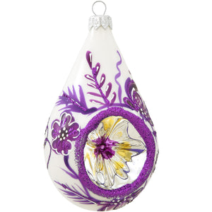 WHITE AND PURPLE REFLECTOR TEARDROP GLASS ORNAMENT
