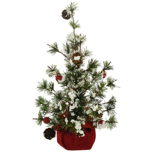 BRONNER'S 13 INCH FLOCKED TREE WITH RED VELVET BASE