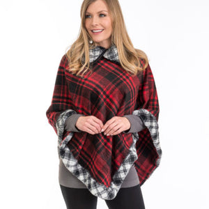 Red and Black Plaid Faux Fur Poncho