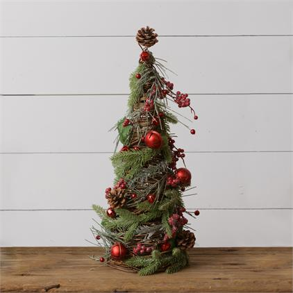 Twig Cone Tree - Frosted Evergreens, Bells, Berries, Medium