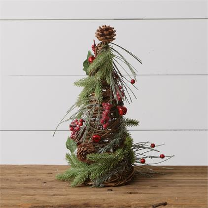 Twig Cone Tree - Frosted Evergreens, Bells, Berries, Small