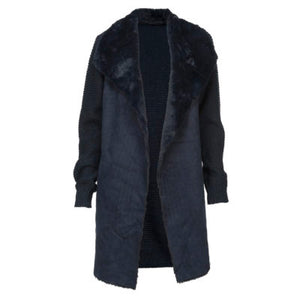 Faux Fur Knit Jacket-Navy S/M