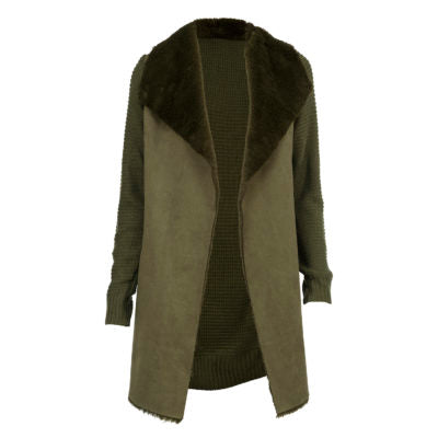 Faux Fur Knit Jacket-Green
