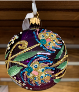 BRONNER'S PEACOCK ON A LILAC ORNAMENT