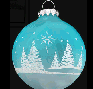 Bronner's Trees And Stars Aqua Ornament